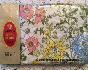 NIP Cannon Royal Family Percale Cotswold Full Flat Floral - New Old Stock - 1970 Bedding - Colorful Floral Sheets - Unused