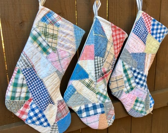 Vintage Quilt Christmas Stockings - Holiday Stocking - Handmade - Featherstitching - Country Farmhouse Farm Style - Blue Ticking - OOAK