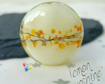 Lampwork Glass Beads Lemon Sunshine Lentil