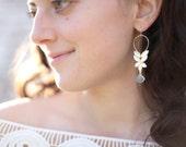 Rose Cut Sapphire Hoops - Blue Sapphire Drop Earrings