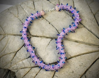 Violet necklace - necklace rope - Beaded Necklace - Bead Crochet Necklace - crochet necklace - crochet rope violet jewelry Lavender Necklace