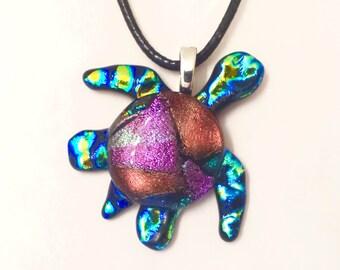Dichroic Glass Sea Turtle Pendant