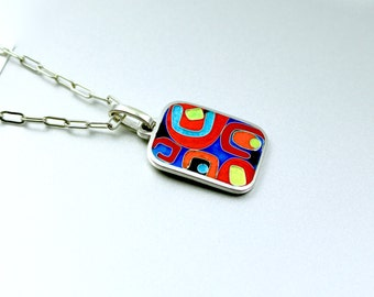 Pendant, silver, cloisonné enamel-Abstract