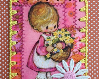 Crocheted Ornament / Tag / Book Mark - Spring Girl -  Recycled Vintage Greeting Card - Yellow