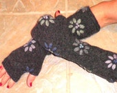 Pure Australian Wool Embroidered Bachelor Buttons fingerless gloves arm warmers boho chic texting gloves mori girl mittens
