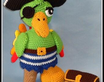 Crochet Parrot Doll, captain parrot doll. crochet parrot pattern, crochet treasure chest