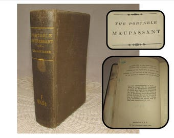 Vintage Hardcover book, Portable Maupassant, Edited by Lewis Galantiere 1947, Viking Press