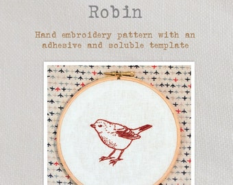 Robin - Embroidery Pattern - Create a beautiful intricate Robin embroidery with this lovely pattern