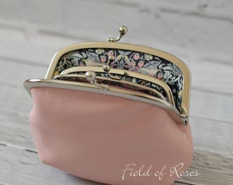 Mother and Daughter Leather Frame Purse with Liberty of London Lining Pale Pink Pastel Pink Made to Order Strawberry Thief