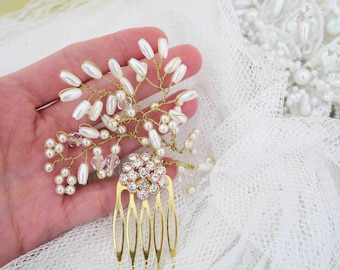 Rose Gold Hair Comb Pearl and Gold Bridal Comb Crystal Branch Hair Comb Gold Crystal Comb Babies Breath Comb Vintage Style Bridal Hair