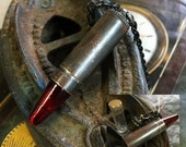 Bullet Stash Necklace, Decadent Dark Weathered, Looks of Remnants Of Aged War, Blood Tipped Bullet