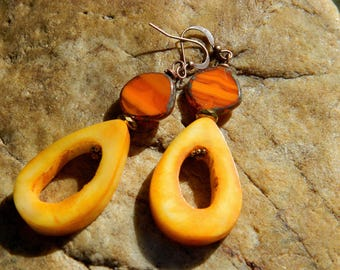 Orange Czech Bead Marigold Teardrop Bone Bead Earrings