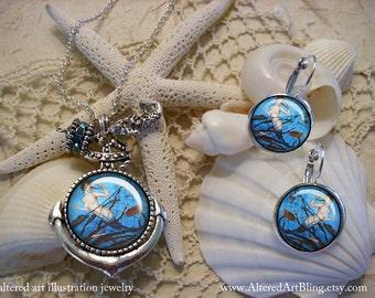 Mermaid anchor pendant and earrings, mermaid caught in a net, gift box, Ready To Ship,  mermaid jewelry,mermaids, mermaid pendants
