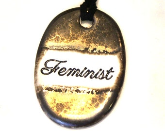 Feminist Ceramic Necklace in Bronze Glaze