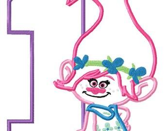 Gnome Girl Birthday 1 Machine Applique Design Embroidery Pattern 5x7 6x10 7x11 INSTANT DOWNLOAD
