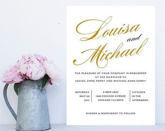 Simple Wedding Invitation - Simple Wedding Invitations - Gold Wedding Invitation - Gold Wedding Invitations - Traditional Wedding Invitation