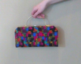 Vintage 60s abstract print mod clutch ~ retro ~ rockabilly handbag