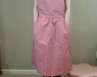 Vintage 70s dusty pink apron pinafore dress