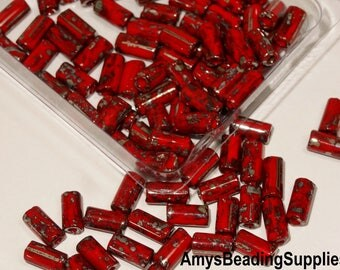 Czech Glass Tube Seed Beads Red Picasso, 8x4mm, 16 grams  (approx 90 pieces)