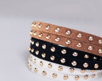 Double Strand Leather Bracelet with Gold Studs / Leather Cord Anklet / Stackable Wrapped Bracelet / White Black & Brown Suede Cuff