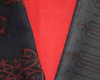 Vintage Japanese Kimono Fabric Bundle 3 Sleeve Mix Crafting - Navy and Red