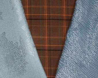 Vintage Japanese Kimono Fabric Bundle 3 Sleeve Mix Crafting - Sky Blue