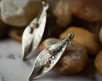 Silver Leaf Earrings Layered with Mauve Zircon Briolettes - Antiqued Nature Inspired Dangle Earrings, Bohemian Jewelry, Handmade, Nature