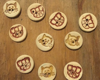 FREE SHIPPING Set of 10 Handmade Mini Ceramic Buttons - Cats and Dogs