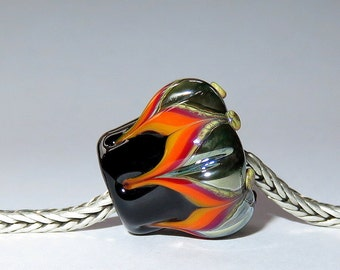 Luccicare Lampwork Bead - Rainbow Lotus - FOCAL - Lined with Brass