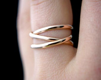 Infinity Spiral Ring - 14kt rose gold-filled stacking ring, 14k rose gold filled wrap ring, 14k rose gold fill wrapped ring, stackable ring