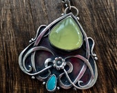 Reserved.... prehnite and turquoise sterling silver, handmade pendant and chain in the Art Nouveau style.