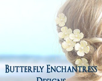 Pearl Lace Wedding, Beach Bridal Hair Flowers, Bridesmaid Gift - 6 Yellow Vintage-Inspired Lace Hydrangea Hair Pins - White Ivory