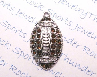 FOOTBALL CHARM, Antique Silver, brown clear crystals, large PENDANTS, Sports, ball, laces, oval, player, football mom