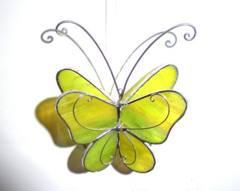 Happy Wings - 3D Stained Glass Butterfly Twirl -  Small Yellow Home and Garden Decoration Hanging Suncatcher Yard Art (READY TO SHIP)