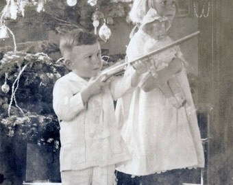 Vintage Photo 1915 Children Christmas Tree Drummer Boy Gun Rifle Toys Girl Doll