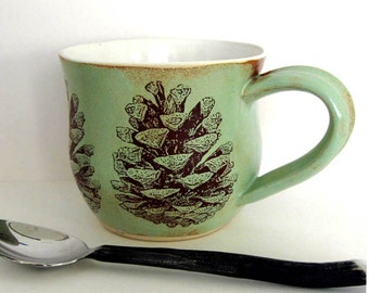 Coffee Mug - Pine Cones -  Ready to Ship - Ceramic Mug - Hand Thrown Mug  -  Wheel Thrown Stoneware Pottery