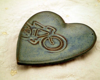 Bike Pottery, Bike Art, Bike Lover Gift, Heart Plate, Bike Soap Dish, Ceramic Spoon Rest