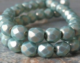 6mm Halo Ethereal Heavens Czech Glass Faceted Round Bead : 25 pc Czech Round Bead