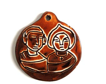 Vintage Wall Plaque Ceramic Art, Mid Century Modern Wall hanging, Stylized MCM Art, Small Brown Glazed Pottery Wallhanging, Home Decor