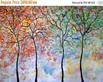Merry Christmas Sale 15% Original Oil Painting  - 4 seasons tree  and LoveBirds-by Vadal  40 x 30 x 1