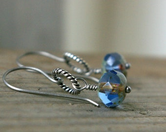Gift for Her - Hypoallergenic - Titanium Earrings - Sapphire Jewelry - September Birthstone - Blue Earrings - Hypoallergenic Earrings