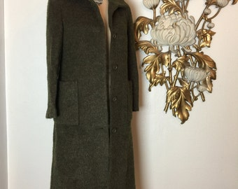 Fall sale 1990s mohair coat 90s olive green coat size small medium classic Vintage coat