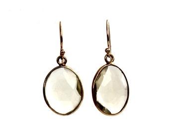 Citrine Earrings/Bezel Set Citrine/Citrine Drops/Citrine Dangles/Gold Earrings/Yellow Gemstone/Citrine Drops/Jewelry/Earrings/Gift for Mom