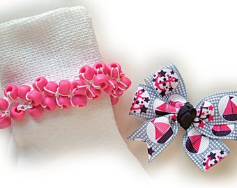 Kathy's Beaded Socks - (Sale) -  Navy and Pink Sailboat Beaded Socks and Hairbow, hot pink socks, school socks, sailboat socks, navy sock