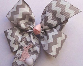 Embroidered Bunny, Hair Bow, Peter Cottontail, Brer Monogram, Gray Chevron, Hairbow girls, Monogrammed Kids, Pink Boutique, Unique Gift Idea