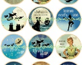 Peter Pan Flatbacks, Pins, and Magnets, Vintage Peter Pan, Peter Pan Party Favors, Peter Pan Illustrations, 25 mm, 12 ct