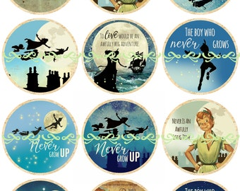 Peter Pan Flatbacks, Pins, and Magnets, Vintage Peter Pan, Peter Pan Party Favors, Peter Pan Illustrations, 25 mm, 12 ct