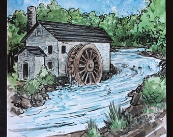The Mill original ink and watercolor painting