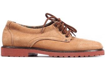 Suede Oxfords Shoes Mens 80s Nubuck Beige Oxfords Wingtips Office Smart Derby Shoes Faded Leather Vintage Men US 7.5, EUR 40, Uk 7