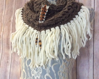 Taupe Hawk cowl... knit crocheted fringed yarn soft scarf leather tie bohemian boho